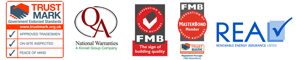 Member of Federation of Master Builders, QA National Warranties, Renewable Energy Assurance Listed